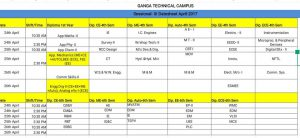 3rd SESSIONAL DATESHEET FOR DIPLOMA