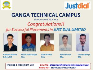 selected students in just dial banner